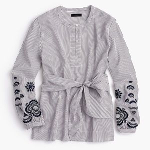 J. CREW Embroidered Tie Front Tunic Striped {S27}